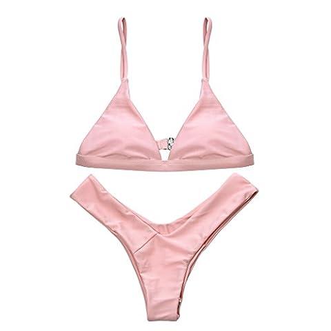 Rose Rembourrage Halter Bikini Set Plage Maillots De Bain Pour Femmes Couleur Unie L