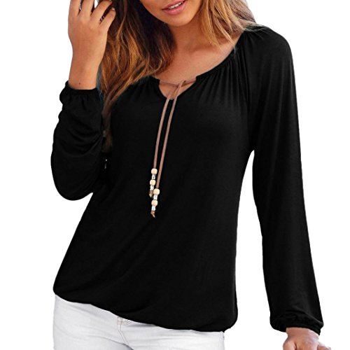 SEWORLD Damen Mode Sommer Herbst Elegant Schal Frauen V-Ausschnitt Solide Tops Bowknot Langarmshirts Bluse T-Shirt Oberteile (Schwarz,EU-44/CN-L)