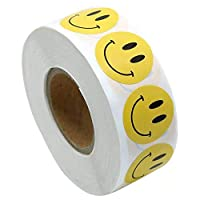 """Smiley Face Stickers Roll, Happy Face Circle Dots Stickers Paper Labels Reward Stickers Teachers Stickers, Round, 500PCS Labels on a Roll, 2.5cm/1"""""""