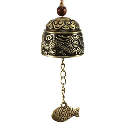 Ogquaton Chinois Dragon/Poisson Motif Suspendu Voiture Carillon De Vent Fortune En Vent En Alliage De Zinc Cloche Avec Chanvre Corde De Haute Qualité