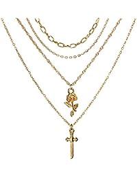 AieniD Collar Largo De Múltiples Múltiples Capas con Cruz Y Colgante De Flores. Oro Collar para Mujeres…