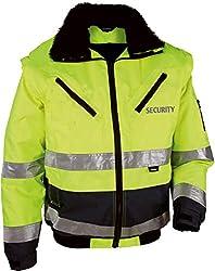 """4-in-1 Warnschutz-Pilotenjacke""""THOSA"""" mit REFLEXDRUCK SECURITY, Gr. XL, abnehmbare Ärmel, herausnehmbares Fell, gelb"""