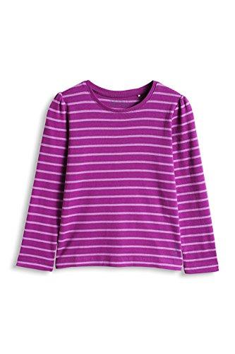 ESPRIT Mädchen Langarmshirt 095EE7K001, Gestreift, Gr. 104 (Herstellergröße: 104/110), Rosa (DARK PINK 650)