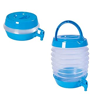 Invero® Collapsible Drink Dispenser with Carry Handle and Tap 3.5 Litre Ideal for Camping, Garden Parties and more - Expanded H20 x W23 x D16cm - Blue