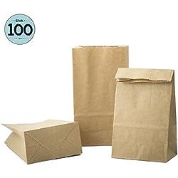 100 sacs en papier marron, sac en papier de 9 x 16 x 5 cm - 70 g/m² sacs en papier pour pain, Calendriers de l'Avent, emballage de pain, de biscuits, de boulangerie, de pâtisserie, de bonbons et noix