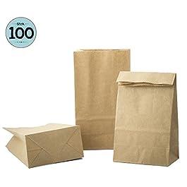 100 Sacchetti di Carta Kraft per attività per Bambini 9 x 16 x 5 cm   Calendario dell'avvento   Sacchetto Regalo Carta…