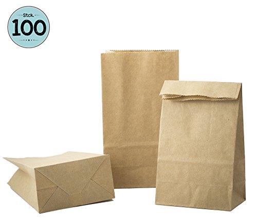 100 kleine braune Papier-Beutel Papiertüten Kraftpapiertüten 9 x 16 x 5 cm 70 gr./m2 Tütchen Tüten mit Boden Kraftpapier für Geschenktüten