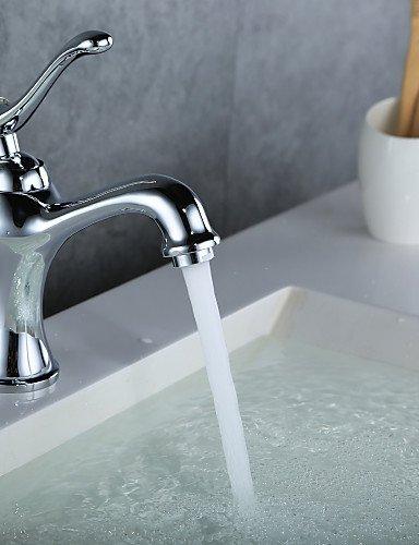 BJYG Antique Finish Messing Einlochmontage Einhand-Waschbecken Wasserhahn - Antique Nickel Gebürstet Glas