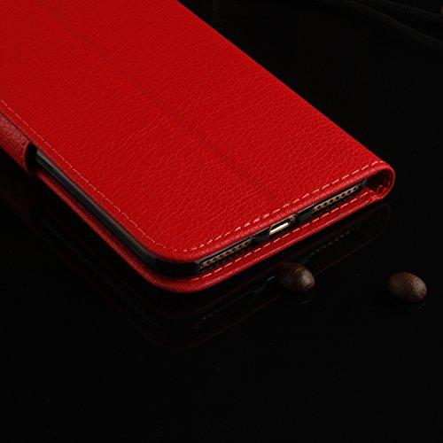Cozy Hut iphone 7 Plus Lederhülle,Magnetverschluss Schutzhülle Folio Cover für iphone 7 Plus orange Ledertasche im Bookstyle mit Kartenfächer und Standfunktion Hülle iphone 7 Plus Handy taschen Classi Rot