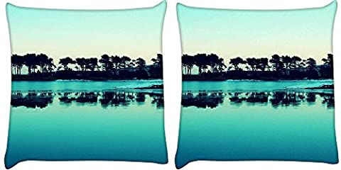 Snoogg Pack of 2 Visit Goa Evenings Digitally Printed Cushion Cover Pillow 14 x 14 Inch