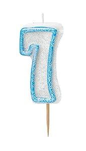 Unique Party- Vela de cumpleaños número 7, Color azul brillante (37927)