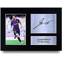 Lionel Messi Los Regalos Firmaron A4 la Dedicatoria Impresa Barcelona Demostración de Foto