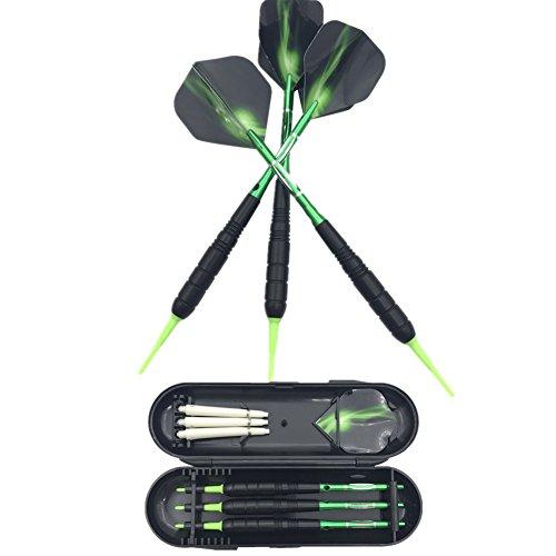 *SWAMPLAND 3 Stück Soft Tip Dartpfeile Set für Elektronische Dartscheibe mit Hard Box Case, Aluminium Schaft, Standard PET Flights,19g,Grün*