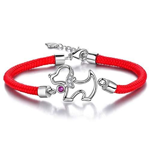 LXIANGP Frauen Armband 925 Silber Glück Hund rot Seil Hand Schmuck Hand gewebt, senden Freundin, Frau, Mutter; Geschenkbox (Armband-charme-hund)