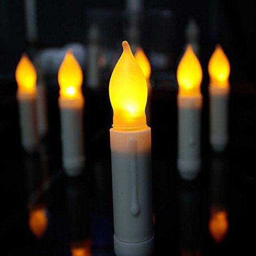 """HanSemay senza fiamma Set di 12 LED cono candele, giallo luce tremolante lampadine a batteria candele pilastro LED per la decorazione domestica compleanno, chiese, partiti e Natale, batterie non incluse (4.5 """"H x 0.8"""" D)"""