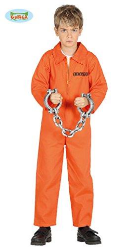 Sträfling Kostüm für Kinder Jungen Overall Gefängnis Gefangener Halloween Knasti Gr. 98-146, (Kostüm Overall Halloween Gefangener Orange)