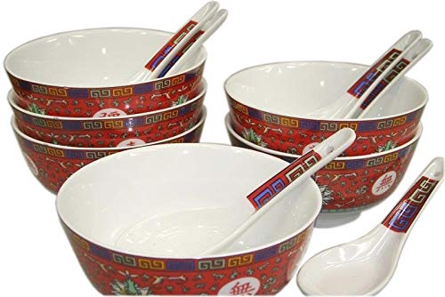 yoaxia ® - [ ARABESQUE ROT ] 6 Set [ 12 Teile ] Reisschale Ø 11,5 cm & Löffel China Schüssel