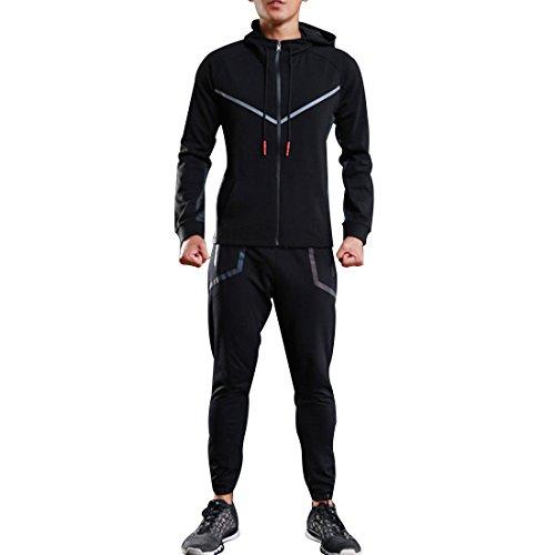 Männer Fitness Langarm Trainingsanzug Schlank Fit Full-Zip Hoodie Jacke L (Fit-full-zip-jacke)