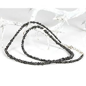 Diamanten Collier – hochwertige Goldschmiedearbeit aus schwarzen Rohdiamanten – 43-46 cm – ungeschliffen Natur pur Roh…