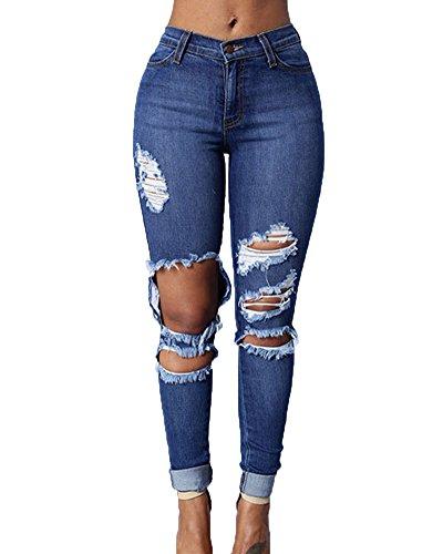 Damen Jeans Hose Röhrenjeans Röhre Damenjeans Stretch Denim Jeans Lässige Hosen Gerissen Jeans Dunkelblau S