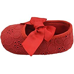 Tefamore Zapatos Cuna De Bebe Algodón De La Cinta Bowknot Soft Bottom Flor Prewalker Niñas lactantes (Tamaño:11, Rojo)