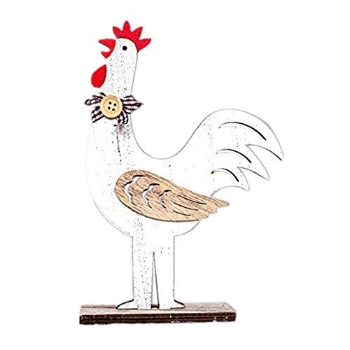 Glücklich Crewneck Sweatshirt (Briskorry Osterdekorationen aus Holz, Hühner/Hennen Dekofiguren Ostern Frühlingsdeko Dekoration Hahn Bunt Garten Deko Tier Henne Huhn)