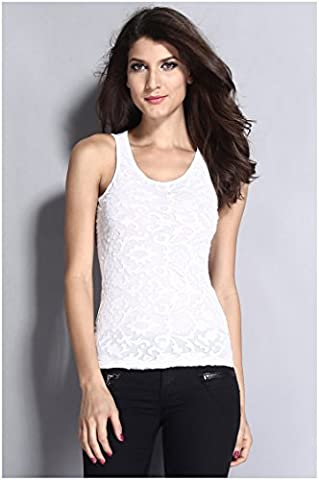 YLSZ-Europe and the United States women's Club lace stitching neck sleeveless T-shirt color Club t,white,M