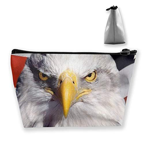 Weißkopfseeadler und amerikanische Flagge Frauen Kosmetik Make Up Aufbewahrungstasche Organizer Geldbörse Mäppchen