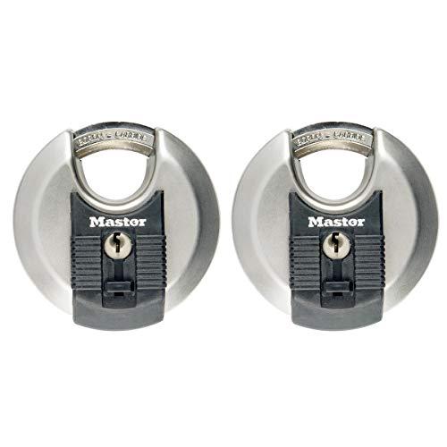 MASTER LOCK Disc-Vorhängeschloss [Schlüssel] [Edelstahl] [Außenbereiche] [2er-Pack] M40EURT - Ideal für Lagerräume, Lagerschuppen, Garagen, Anhänger und mehr