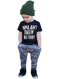 Mitlfuny Verano Ropa Camiseta de Manga Corta para Niños Bebé Niña Cuello  Redondo Camisas de Algodón Carta Estampado Blusas Niño Tops… 4e195377cc15