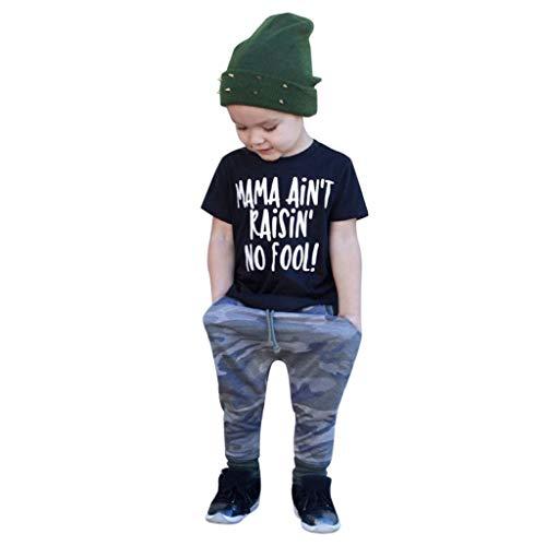 Allegorly Kinderbekleidung Bekleidungssets Kleinkind Baby Kinder Jungen 2 Stücke Brief drucken T-Shirt Top Oberteil +Camouflage Hose mit Tunnelzug Outfits Sets Kleidung 1-6T