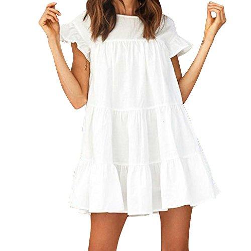TPulling Damen Rüschen Abendkleid ❤ Frau Mode Minikleid Sommer Rundhalsausschnitt Kurzarm Rüschen StandKleid Patchwork Bodycon Beiläufige Abend Partykleid (Weiß, XL)