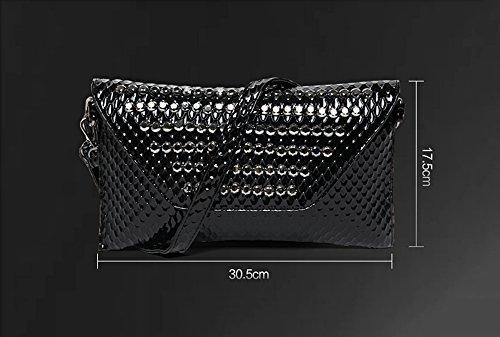 Sacchetto di mano, sacchetto delle signore, borsa del diamante di modo, versione coreana del sacchetto di polso del ribattino, pacchetto di sera di modo ( Colore : Silver ) Silver