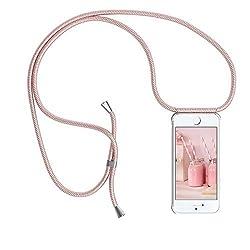 YuhooTech Handykette Kompatibel mit iPhone 8 Plus, Smartphone Necklace Hülle mit Band - Handyhülle mit Kordel Umhängenband - Schnur mit Case zum umhängen in Rose Gold