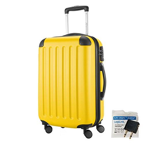 HAUPTSTADTKOFFER® 49 Liter Handgepäck · SPREE · TSA · MATT · NEU 4 Doppel-Rollen · (in 12 Farben) + LogiLink® Flugzeug Audio Adapter (Gelb) -