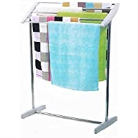 Mopik Stainless Steel Towel Rack, Floor-Standing Multi-Functional Mobile Foldable Balcony Towel Stand Indoor and Outdoor…