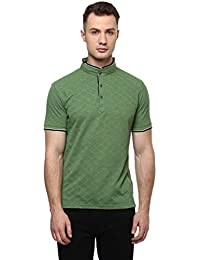 CAYMAN Green Solid Regular Fit Polo T-Shirts