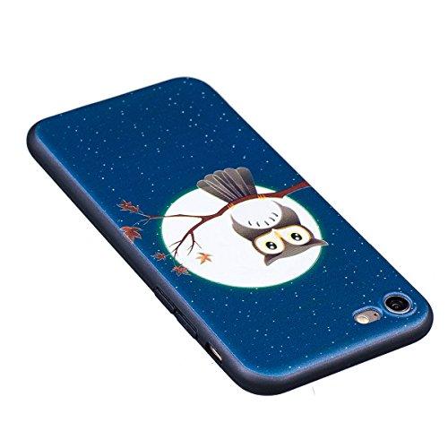 Cover iPhone 7, Custodia iPhone 7, Case in Silicone Nero Morbido TPU, Surakey Protettiva Bumper Back Cover Gomma Soft Sottile e Flessibile Custodia Gel Rubber Leggero Antiscivolo Antiurto Protezione P Piccolo Gufo