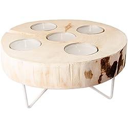 Portavelas de madera vela soporte decorativo Metal estante de madera taburete de madera en color blanco, Natur / Weiß, M (Höhe: 12 cm)