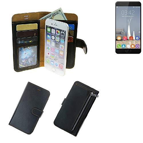 K-S-Trade Für Oukitel K6000 Plus Schutz Hülle Portemonnaie Case Phone Cover Slim Klapphülle Handytasche Schutzhülle Handyhülle schwarz aus Kunstleder (1 STK)