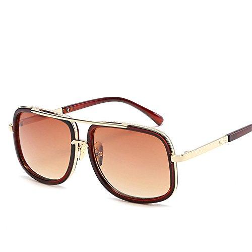 RFVBNM Europa und die Vereinigten Staaten Persönlichkeit Mode Sonnenbrillen Männer und Frauen Retro Sonnenbrille flachen Spiegel, Tee Box Gradienten Tee