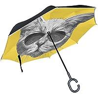 inversé Parapluie, Isaoa la réflexion Stript Envers coupe-vent Parapluie Inside Out Parapluie Self debout avec poignée en forme chat avec lunettes de soleil Parapluie Meilleur pour les voyages et de v
