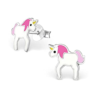 The Goldmine - Cute Genuine 925 Sterling Silver and Epoxy Kid's Children's Pink and White Unicorn Stud Earrings with Butterfly Backs incl. free Presentation Box and FREE UK delivery