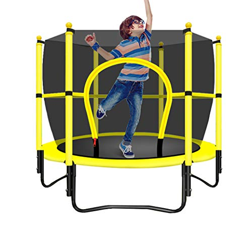 YGUOZ Kinder Indoor Trampolin, Startseite Garten Trampolin mit Sicherheitsnetz Sprungmatte Hochfeste Federn, Trampolin Set für Kinder Geburtstagsgeschenk,Yellow_47in