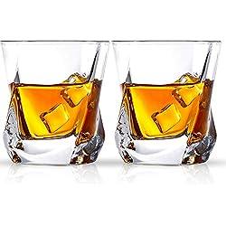 Cooko Verre de whisky,Lunettes de Luxe en Verre, Verres Transparents Sans Plomb, Accessoires pour Vin Ensemble de 2 Tasses (8.8 oz/250ml) pour Vin, Cocktails ou Jus