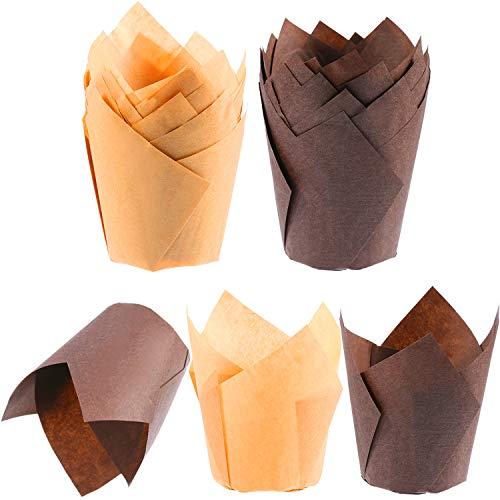 TecUnite 200 Stücke Tulpe Cupcake Liner Backbecher Papier Cupcake und Muffin Backförmchen für Hochzeiten und Geburtstag, Braun und Natur Farbe