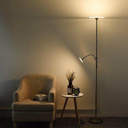 LED Stehlampe Dimmbar Sunllipe Stehleuchte Modern Deckenfluter mit Leselampe Standleuchte mit Drehschalter 18W 1620 Lumen 2700-3000 Kelvin (Deckenfluter Ist Stehlampe Leselampe)