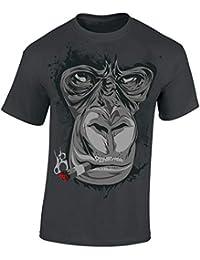 6597a79d5672e Baddery Camiseta  Gorila Cigarro Fumador  420   Hipster Fun-Shirt