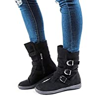 JOYTO Fur Winter Boots Women Mid Calf Flat Faux Suede Leather Ankle Slouch Warm Snow Booties High Top Slip On Side Zipper Buckle Black 40