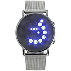 Tonsee Sport Men Led Digital Stainless Steel Blue Circle Wrist Watch Gift